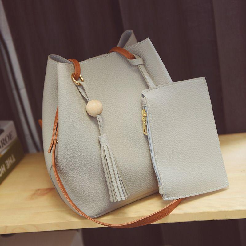 b943bf5c20 2017 New Bucket Women Bag Female Bun Mother Bag Fall Fashion Shoulder  Handbag New Tassel Women Messenger Bags Mens Leather Bags Italian Leather  Handbags ...