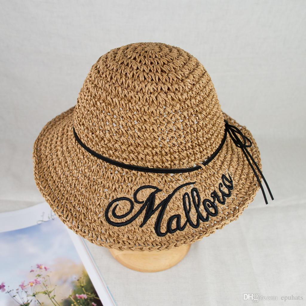 770d1483411 2018 New Hand Crochet Straw Wide Brim Embroidery Floppy Summer Vocation Sun  Protection Hat EPU MH1805 Fedoras Beanie Hats From Epuhats