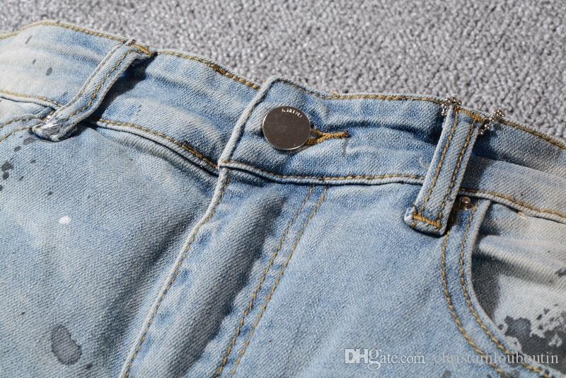 2019 Мири европейский стиль бренд мужские женские джинсы роскошные джинсовые брюки тонкий прямой лоскутное синий отверстие джинсы брюки