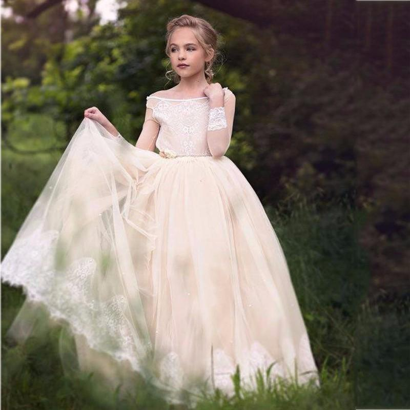Light Champagne Long Sleeve Backless Kids Appliques Top Tulle Pretty
