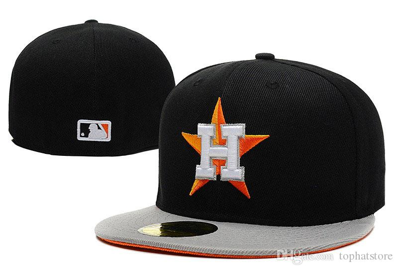 sale retailer 61a10 6c020 2019 Men s Houston Astros Sport Fitted Hats With Black Top Gray Visor Team  Logo Embroidery Fashion New Baseball Full Closed Caps