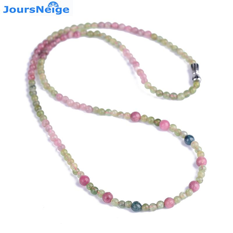 Wholesale JoursNeige Natural Tourmaline Crystal Stone Necklace Round  Chain Necklace Lucky for Women Girl Popular Jewelry