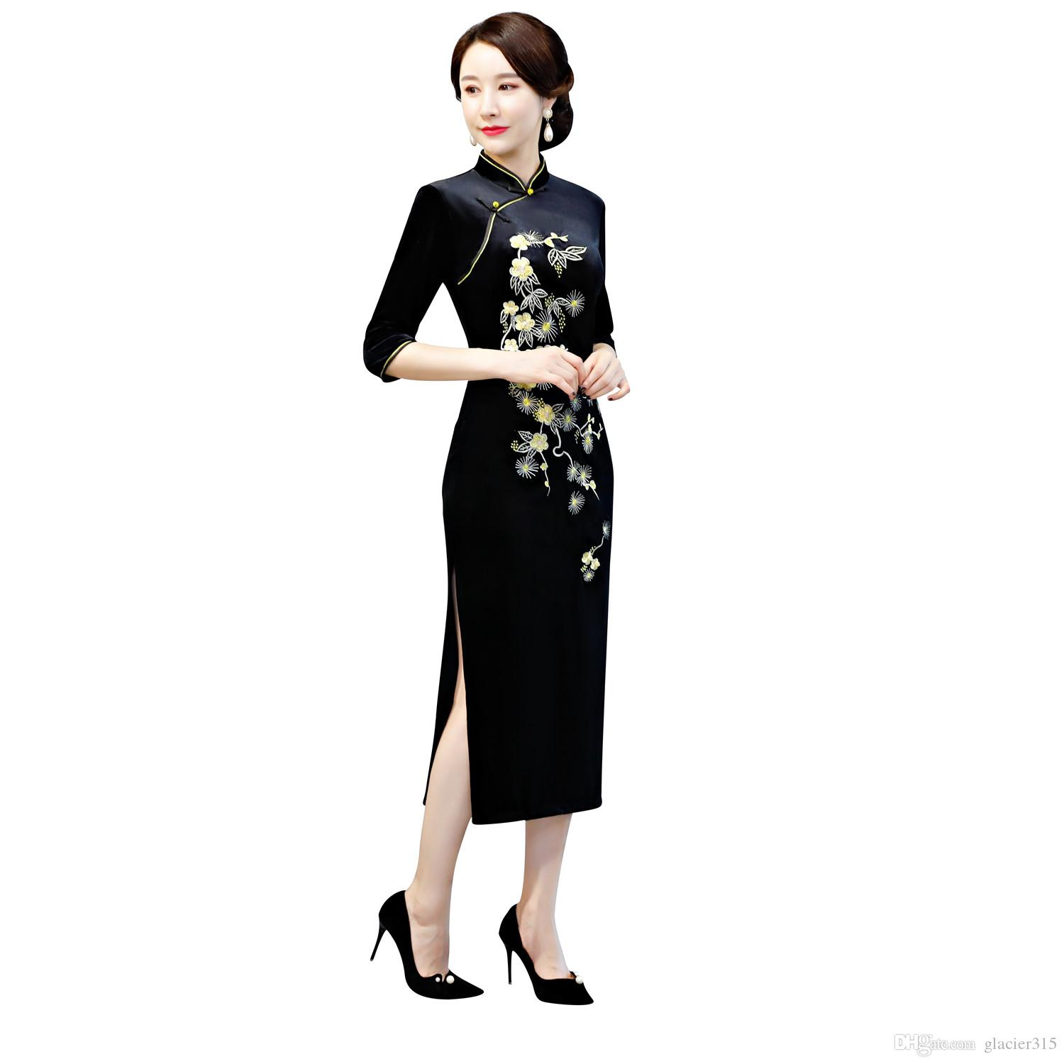 248148fe0 Shanghai Story Flower Embroidery Velvet Chinese Dress 3/4 Sleeve Qipao  Chinese Traditional Clothing For Women Long Cheongsam Lace Gowns Qi Pao  From ...