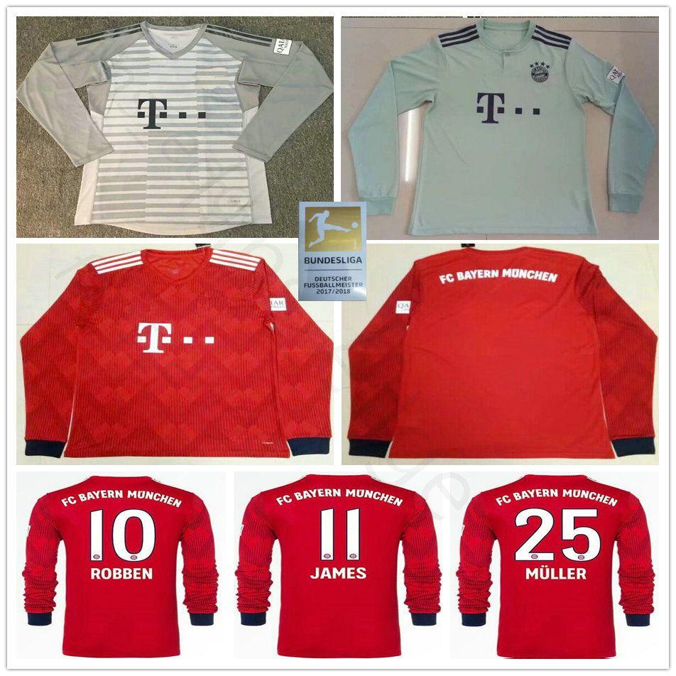 b52c796fc2 2018 2019 Munich Camisetas De Manga Larga Del Bayern Soccer JAMES  LEWANDOWSKI MULLER ROBBEN KIMMICH TOLISSO NEUER Portero 18 19 Camiseta De  Fútbol Por ...