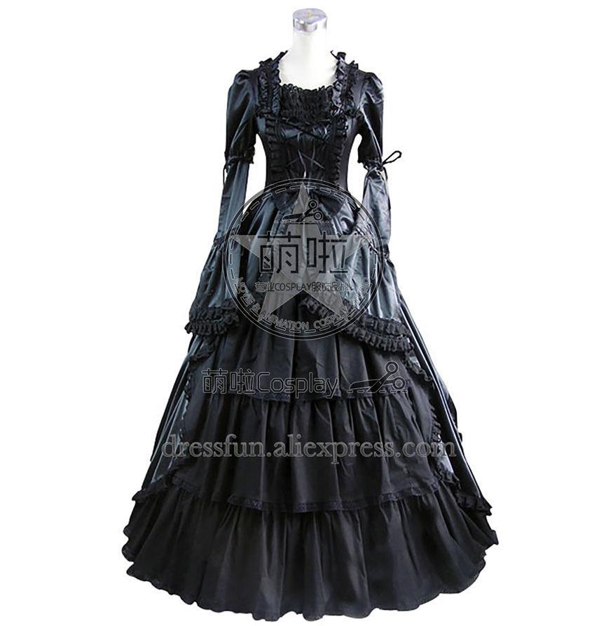 Party Schön Verschiffen Gothic Schwarz Lolita Schnelles Kleid Langarm Für Satin Bürgerkrieg Halloween Ballkleid OZiuTkPXlw