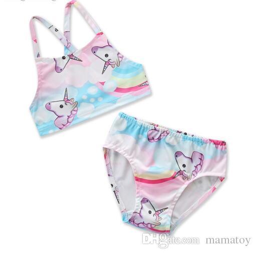 9b250c5f1f 2019 2018 NEW Baby Girls Unicorn Swimsuit Outfits Children Unicorn ...