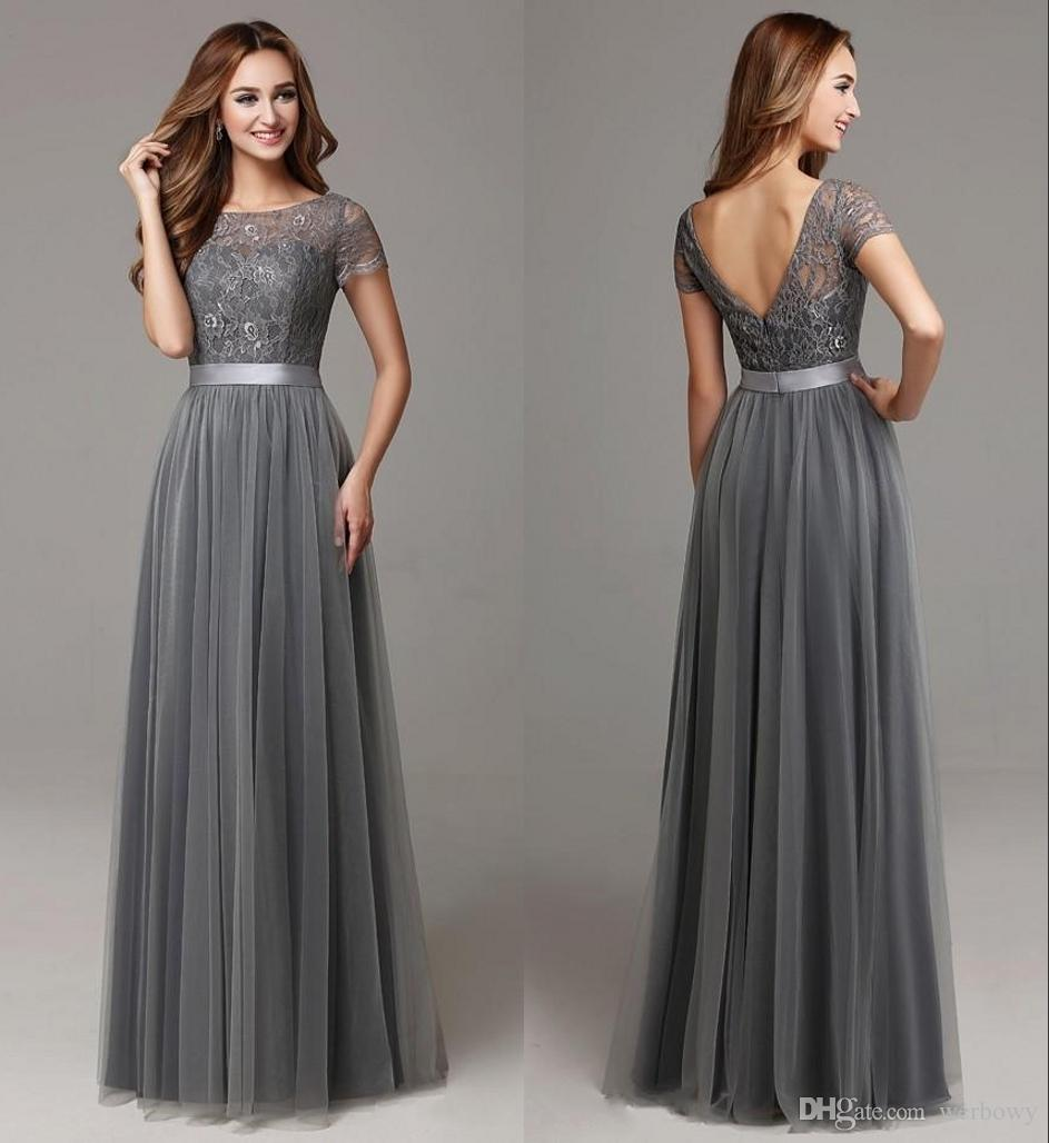 5a0d4db4683 Dark Grey Lace Tulle Long Modest Bridesmaid Dresses With Short Sleeves  Floor Length Women Sheer Neckline Formal Wedding Party Dresses HY4266  Grecian ...