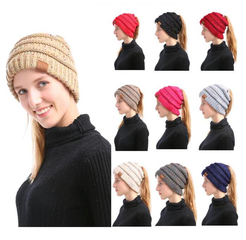 6adb19d7346 Christmas Gift Women CC Ponytail Caps CC Knitted Beanie Fashion Girls Winter  Warm Hat Back Hole Pony Tail Autumn Casual Beanies Cc Confetti Yarn Hat Cc  ...