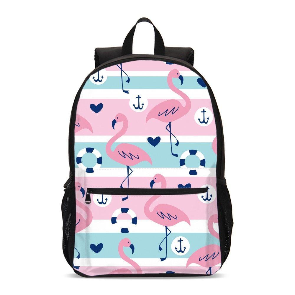 Pink Flamingo Print School Backpacks Brown Leaf Flower Girls Travel