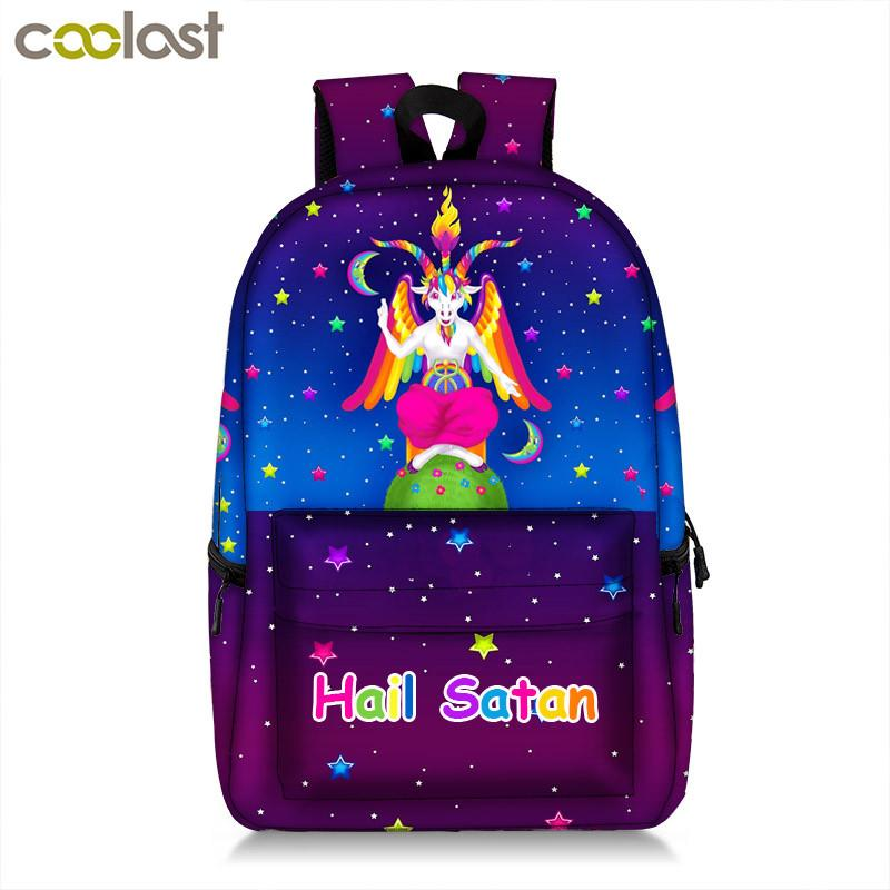 dc8311e065f7 Kawaii Rainbow Baphomet Backpack For Teenager Boys Girls Occult Witchcraft  Satan Devil Women Laptop Backpack Kids School Bags Messenger Bags Leather  ...