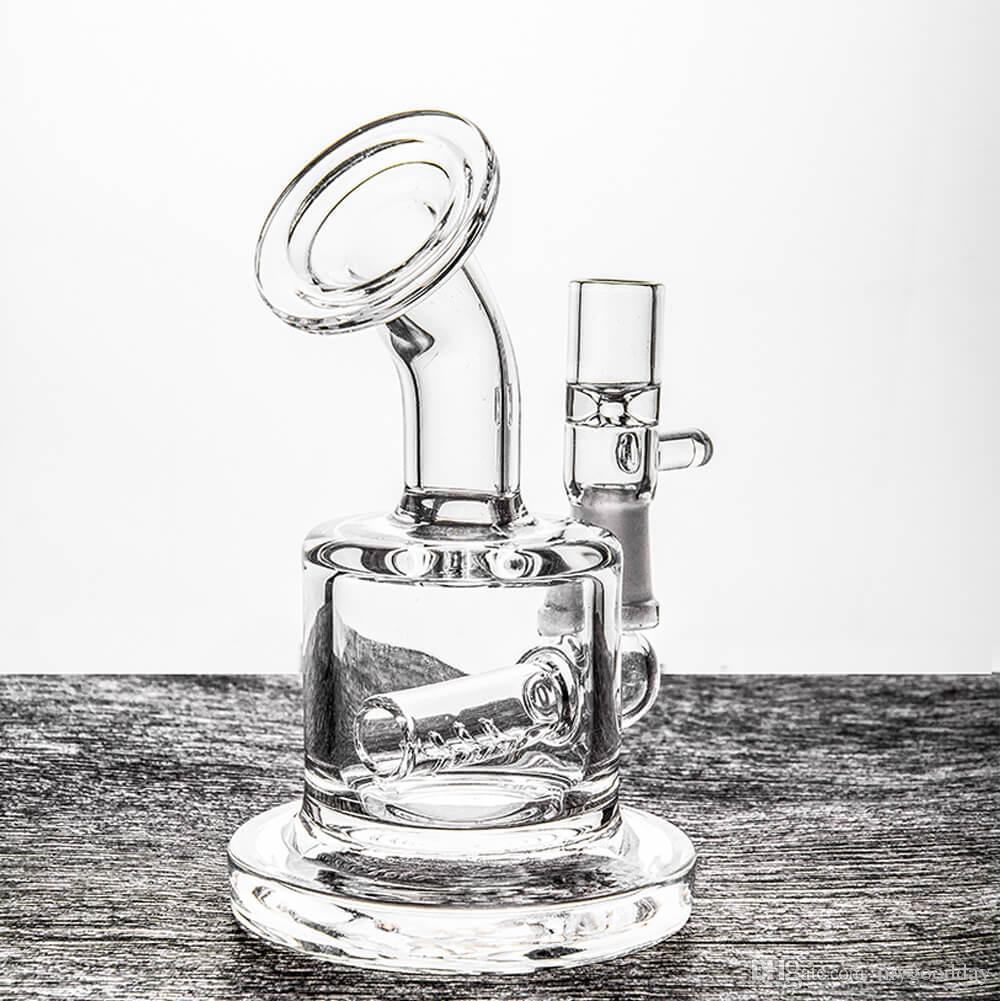 Piccolo Bong Percolators Mini Dab Rig Tubi l'acqua in vetro colorato economici tubi Bubbler 3 pollici e 10 mm comune