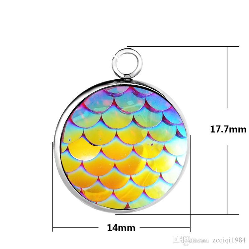 14mm paslanmaz çelik Mermaid Ölçekli Charms Takı kolye Yapımı DIY Için 12 renkler Balık terazi kolye