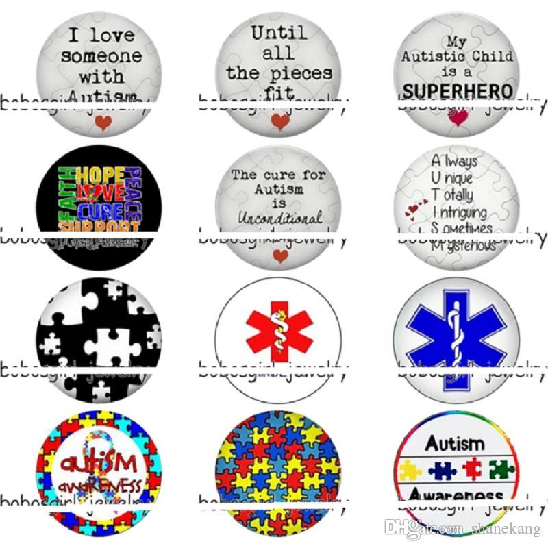 Mixed 50 pcs The cure for Autism is unconditional Love glass snap button  Diy jewelry accessories fashion style charm jewelry