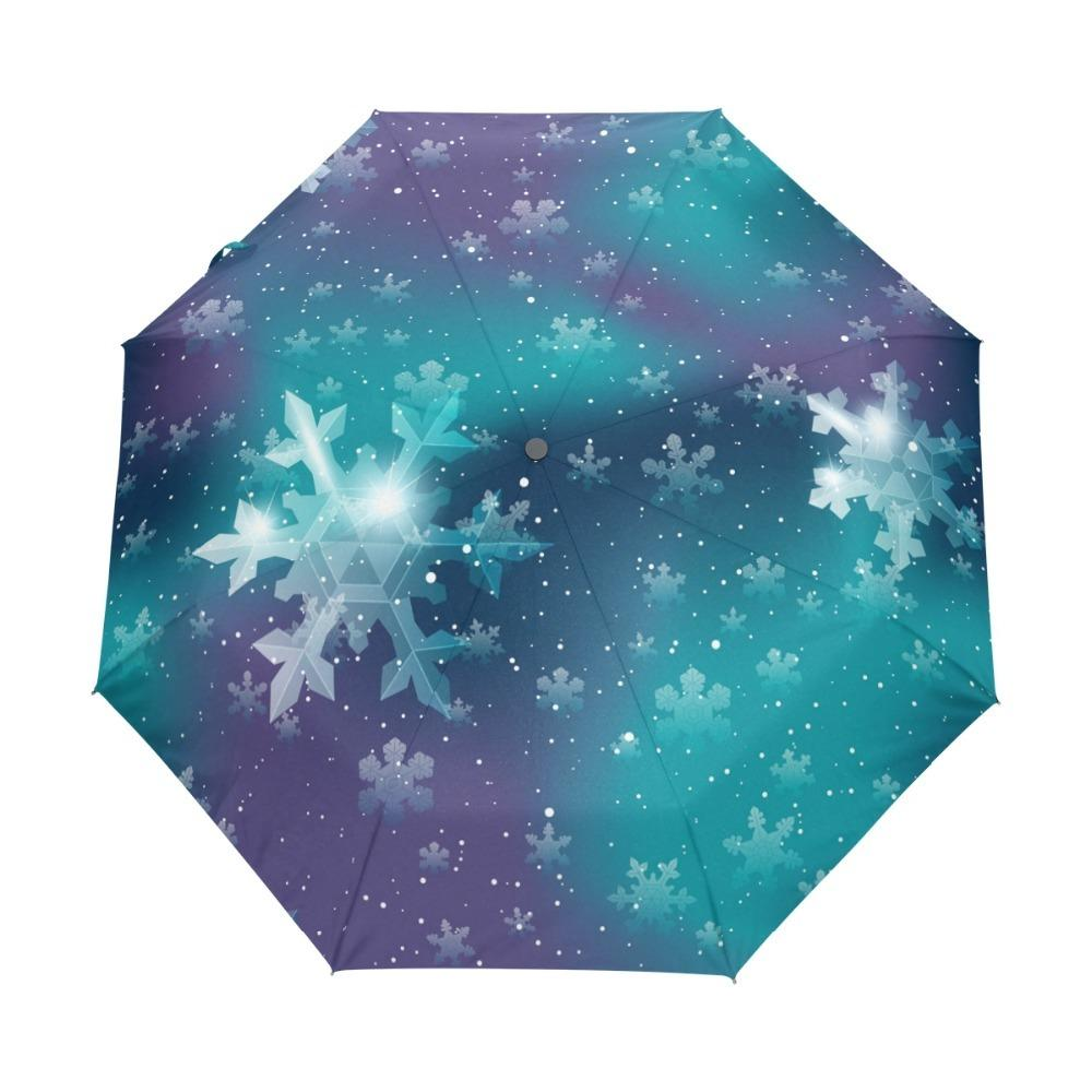 Fully Automatic Custom Christmas Snowflakes Umbrellas Creative Design Sky Foldable Rain and Sun Women Umbrella with Carry Bag