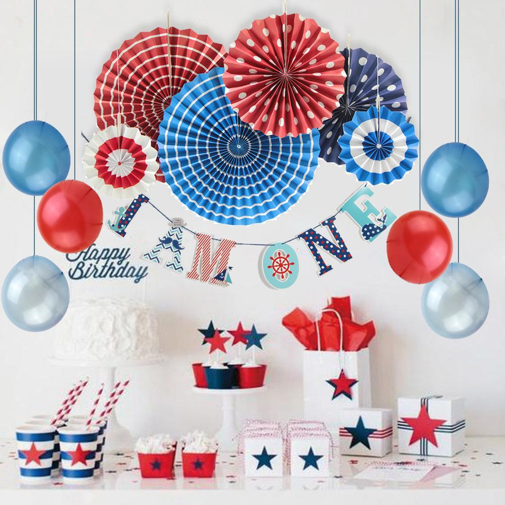Red Navy White First Birthday Party Decoration Set I Am One Banner Balloons Paper Rosette Nautical Supplies Decorations