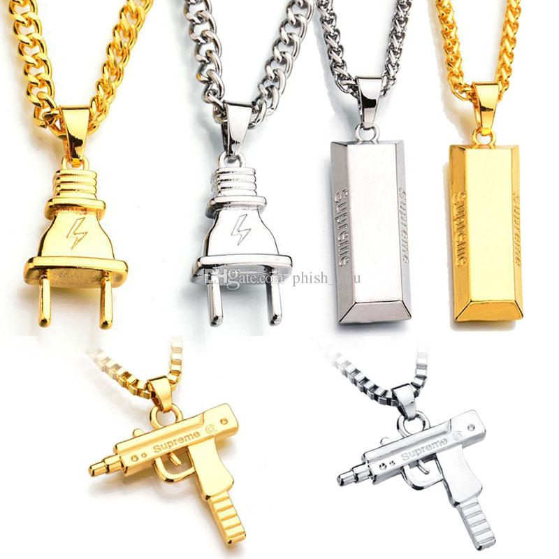Plug Gold Bar SUP LOGO Charm Statement Collares Colgantes Hip Hop Jewelry Cadenas largas 18K Gold Plated Mens Collares