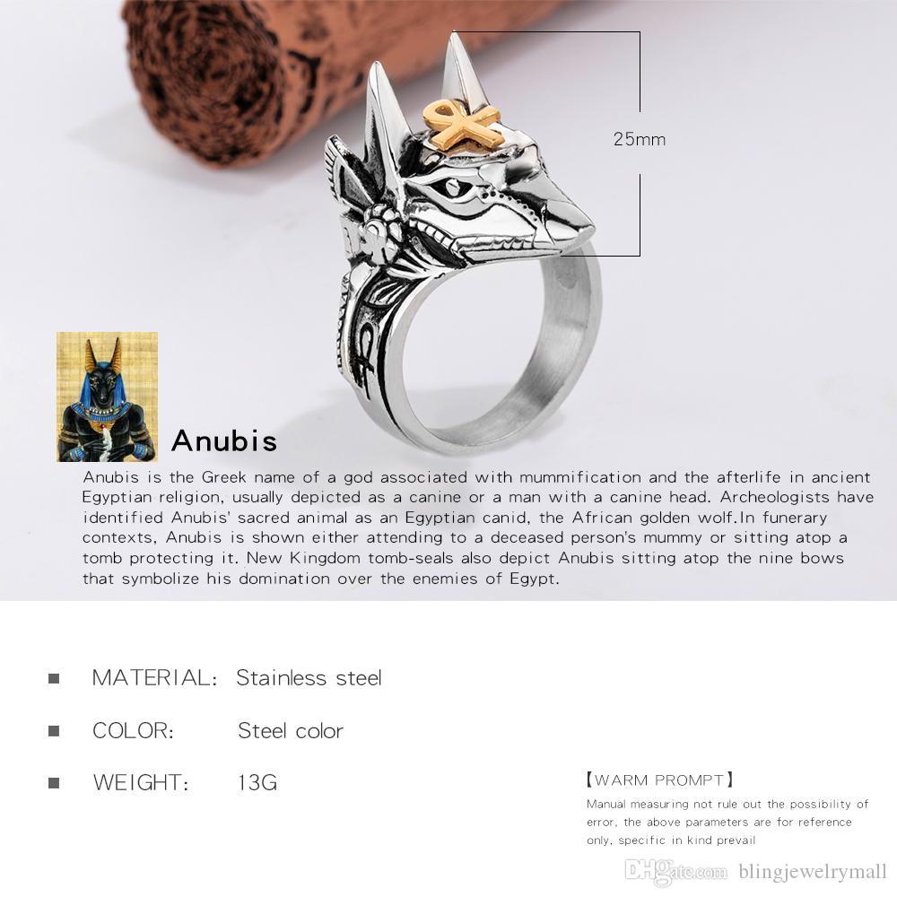 Punk Anubis egiziano croce bestia anello uomo acciaio inossidabile ankh croce design moto anello dito gioielli cool regalo GJ626