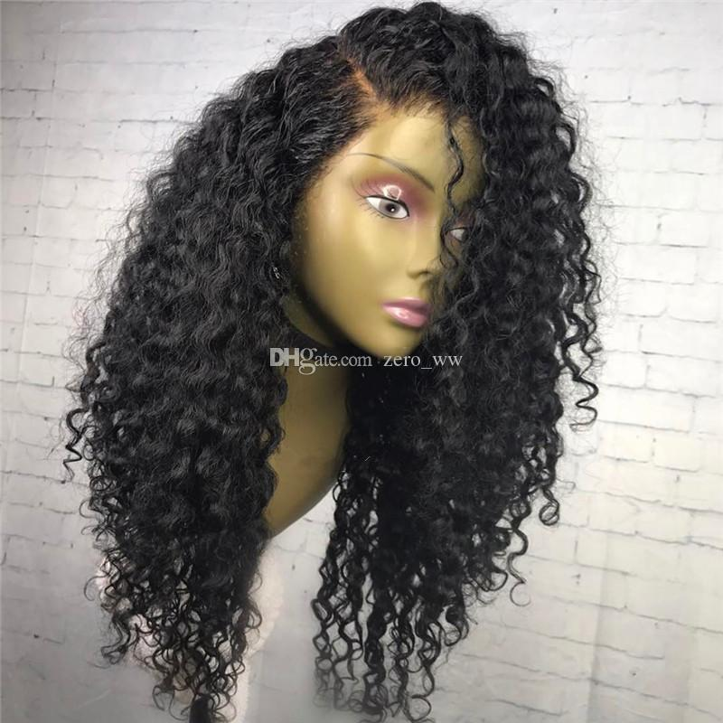 Lace Front Human Hair Wig Curly Brazilian Virgin Hair Deep Curly Pre-plucked Hairline 150% Density Full Lace Wig With Baby Hair Glueless