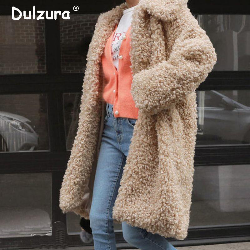 Compre Ulzzang Largo Abrigo De Chaqueta De Piel Sintética Grueso Caliente 2018  Mujeres Chaquetas De Invierno Abrigos Shaggy Fluffy Prendas De Abrigo Moda  ... e1b193b9e22e