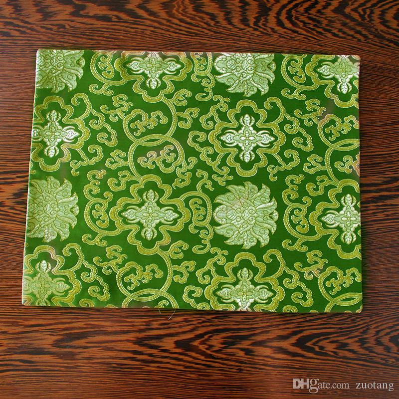 Rektangel vintage kinesisk silke placemat skål tallrik matbord matta mode enkel brocade middag skyddsplatta 40x32cm 10st /