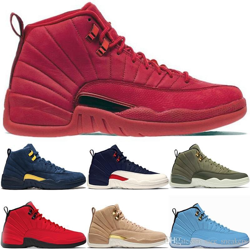 pretty nice 3178c 0e265 Großhandel Nike Air Jordan Retro Turnhalle Red Bulls 12 12s Herren  Basketballschuhe CP3 Klasse Von 2003 Michigan University Blue College Navy  Mens Trainer ...