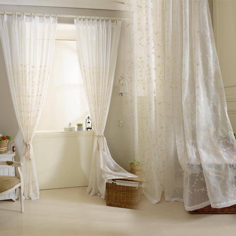 f22cff0ea Cortinas de tul bordadas sólidas del algodón para las cortinas de ventana  de la sala de estar para la cocina del dormitorio Cortinas de la gasa  escarpadas ...