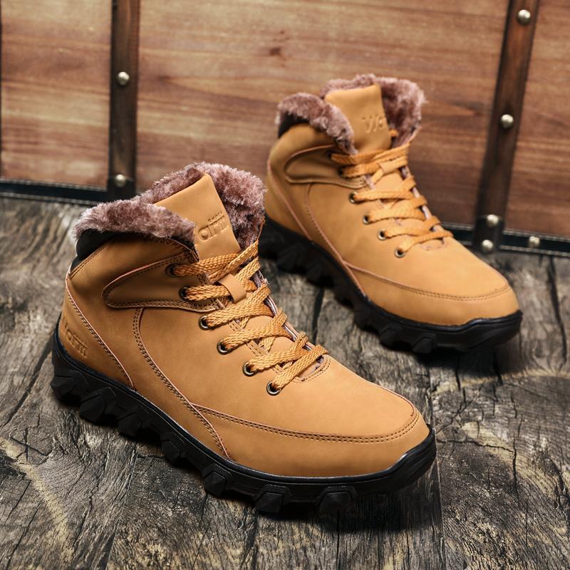 31319af2ac079 Men s Snow Boots Waterproof Fur Lined Booties Non-Slip High Top ...