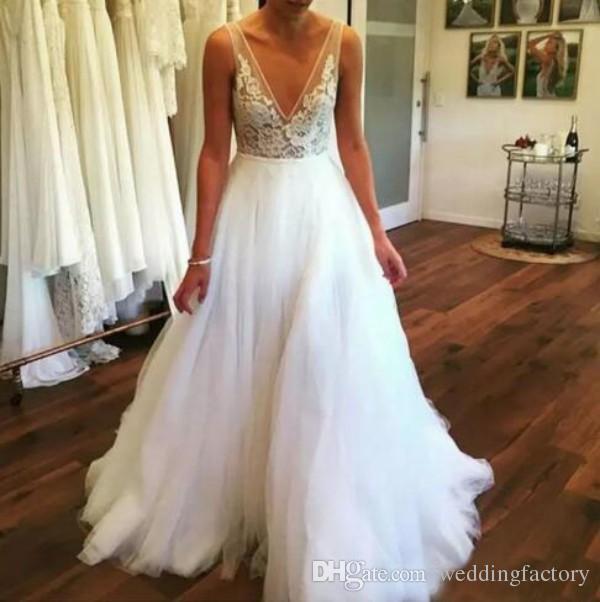 Sexy cuello en V profundo bohemio playa vestidos de boda Sheer encaje apliques piso-longitud tul más tamaño por encargo de verano Boho vestidos de novia