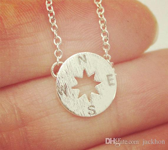 Gold Silver Small Compass Necklaces Pendant Charm for Women Men South Direction Necklace Disc Circle Disk Necklaces Coin Jewelry