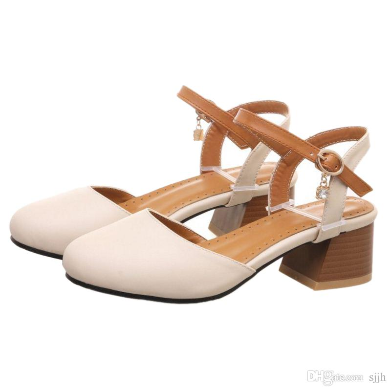 SJJH 2018 Woman Sandals with Chunky Heel and Round Toe Elegant Working Chic Shoes for Fashion Woman with Large Size Available A177