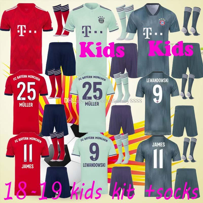 4e86def1fd9 2019 Bayern Soccer Jersey Kids Kit 18 19 FC Bayern Munich Home Away Soccer  Jerseys  25 MULLER  11 JAMES Child Soccer Shirts Uniform Jersey+Shorts From  ...