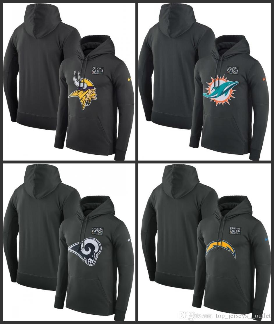 Minnesota Vikings Miami Dolphins Los Angeles Rams Los Angeles Chargers Hombres Mujeres Crucial Catch Performance Sudadera con capucha