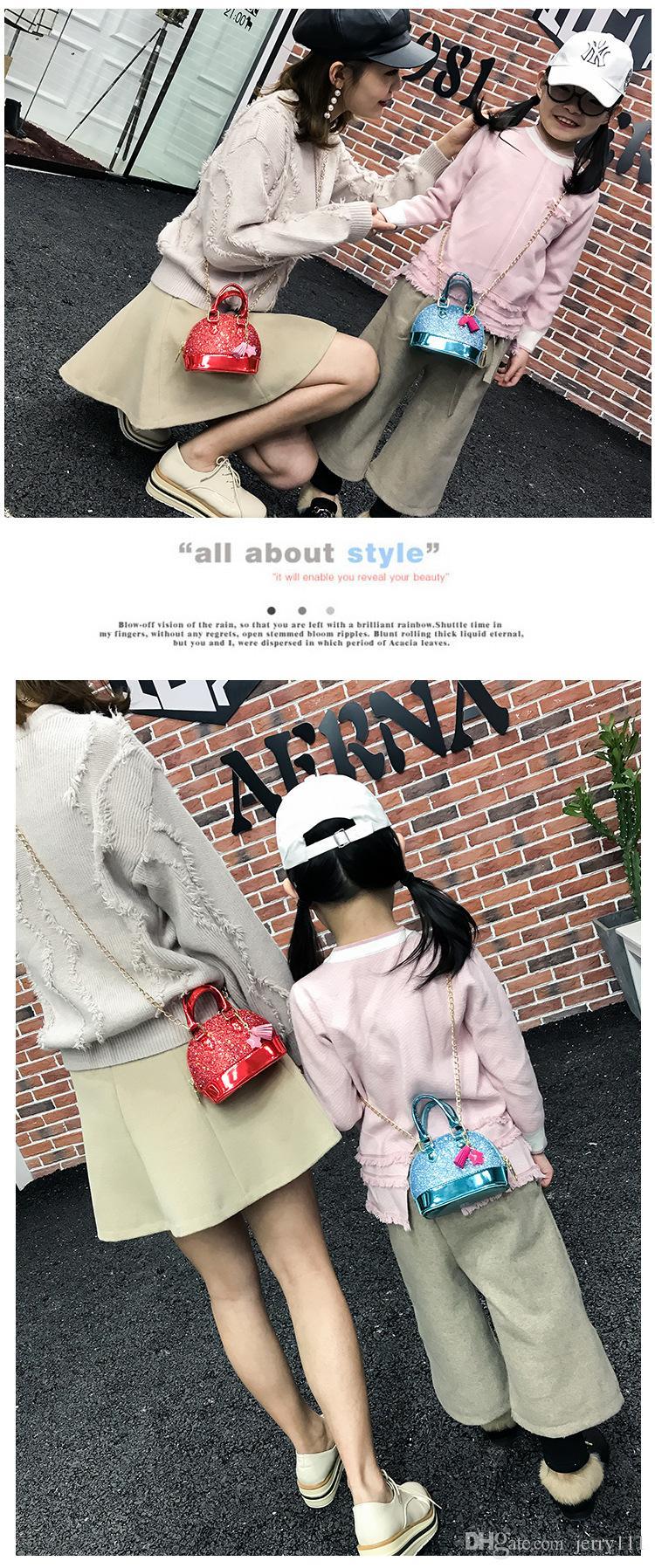 Mini bolsos de hombro para niñas Shinning Glitter Purse para niños pequeños Shell bolsos de lentejuelas con cadena bolsos lindos LC789