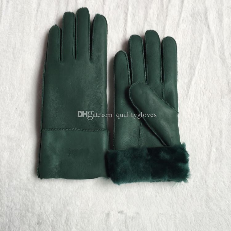 Бесплатная доставка - высокое качество женская мода повседневная кожаные перчатки тепловые перчатки женские шерстяные перчатки в различных цветах