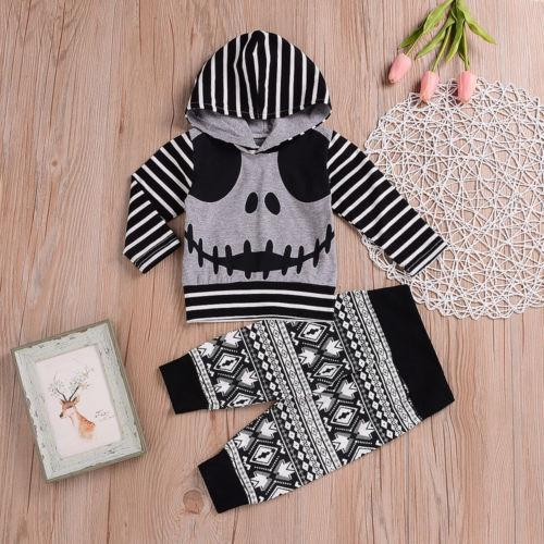 24a3f40f9 2019 Baby Boys Girls Halloween Clothes Set Striped Long Sleeve ...