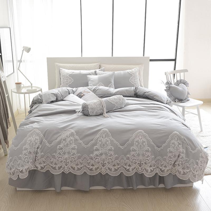 Grey Pink Blue Purple Cotton Lace Bedding Set Full Queen King Size Duvet Cover Sets Oriental Style Bed Linen Set Bedclothes