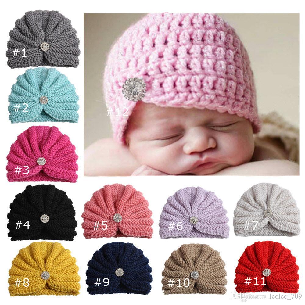 2018 Nouveau Chapeau De Maternité Bébé Bonnets Tricoté Chapeaux De Crochet Indien Strass Protection Des Oreilles Dhiver