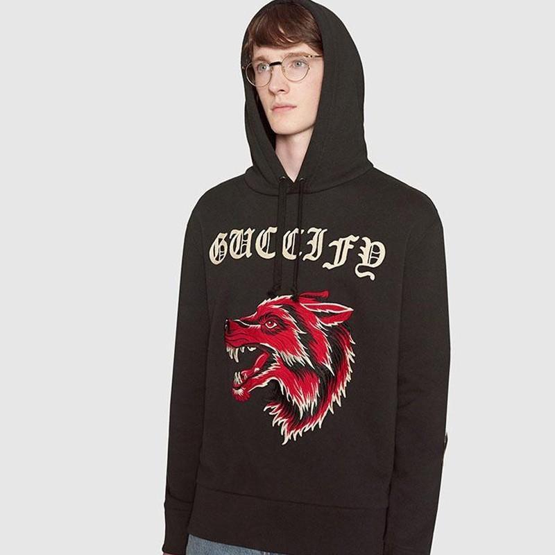 f2e49178719 18SS GC1 Wolf Head Letter Logo Sweater Retro Street Fashion Casual ...