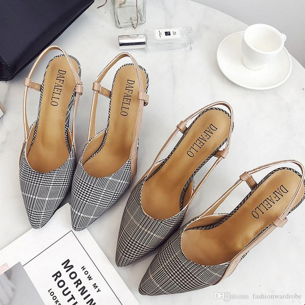 55f6f7c64ab7a8 Checked Pointed Toe Women Sandals High Heel Slingback Summer Sandals ...