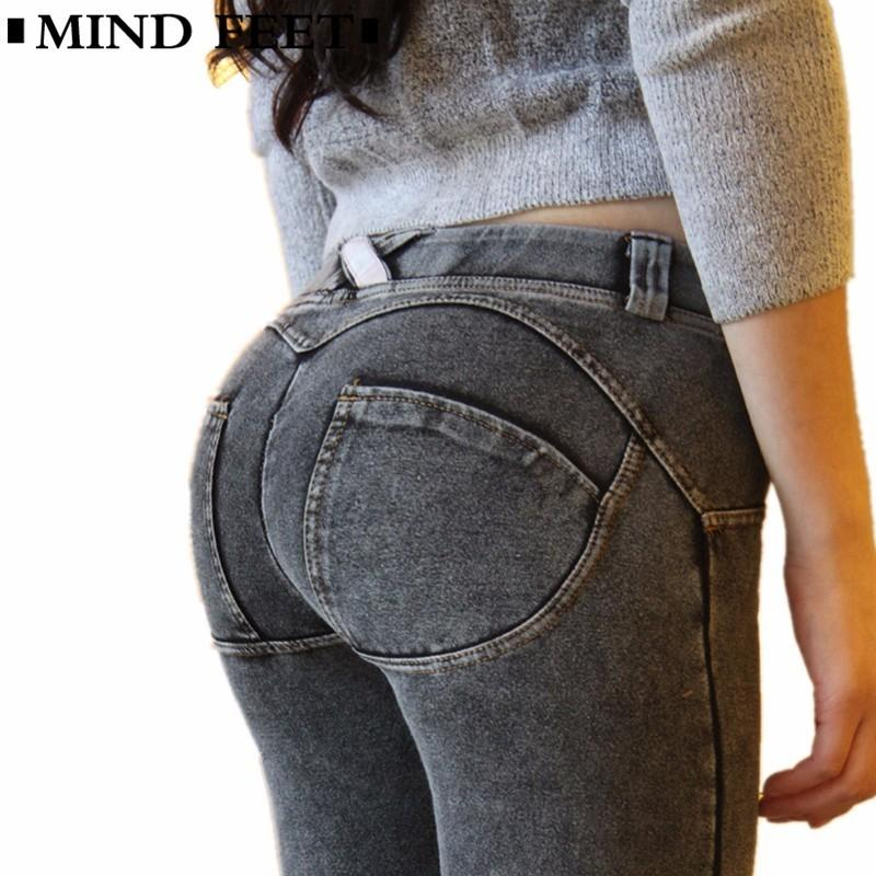 size 40 cc95e 0c32b MIND FEET Slim Sexy Women Push Up Jeans Skinny Stretched Knitted Fabric Low  Waist Denim Trousers Peach Lift Butt Jeans Autumn