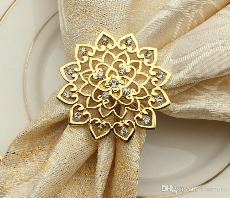 Gold Silver Flower Napkin Rings Luxury Metal Meterial Marry Wedding ... 2a44ecb06287