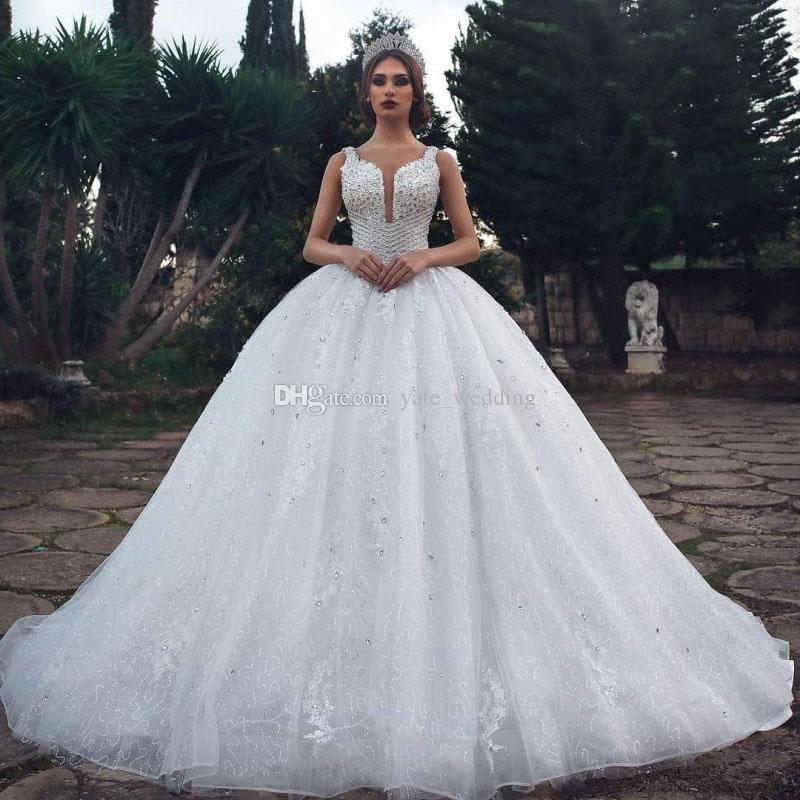 05c59da681 Luxury Ball Gown Wedding Dresses Crystal Sequins Lace Tulle Saudi Arabic  Bridal Dresses Sparkle Wedding Gowns Cathedral Train