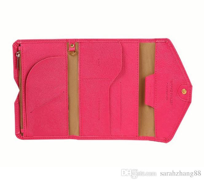 O Clássico Moda RFID Bloqueio Organizador de Embreagem Carteira Feminina, Celular Passaporte Envelope Envelope Com Três Dobras PU Carteira De Couro