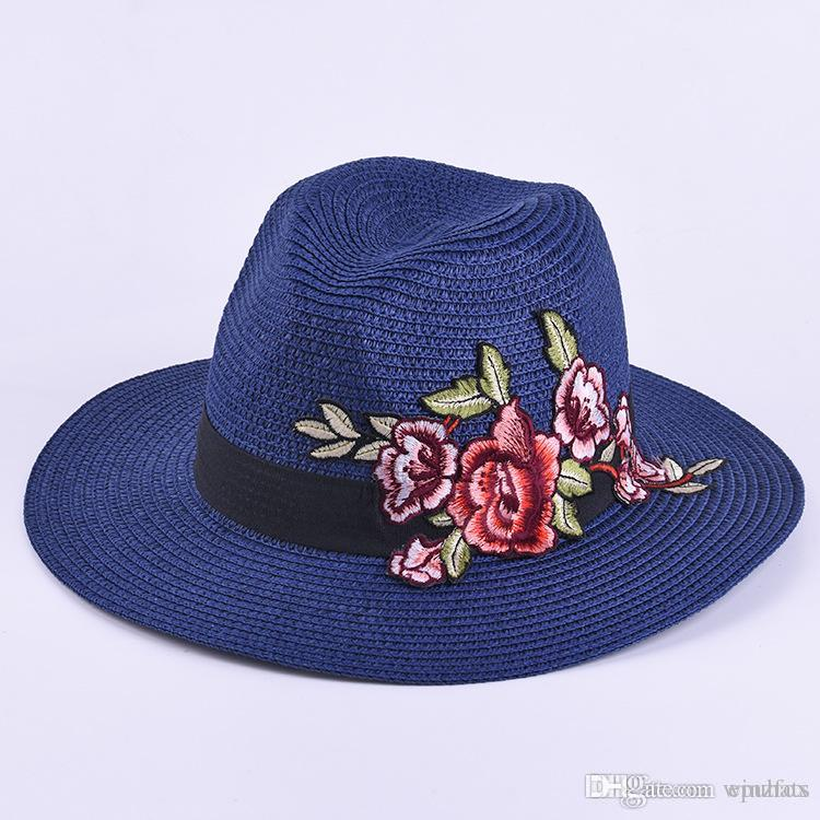 e33498a359048 Lady Straw Hat 2018 Embroidery Floral Female Ladies Paper Panama ...