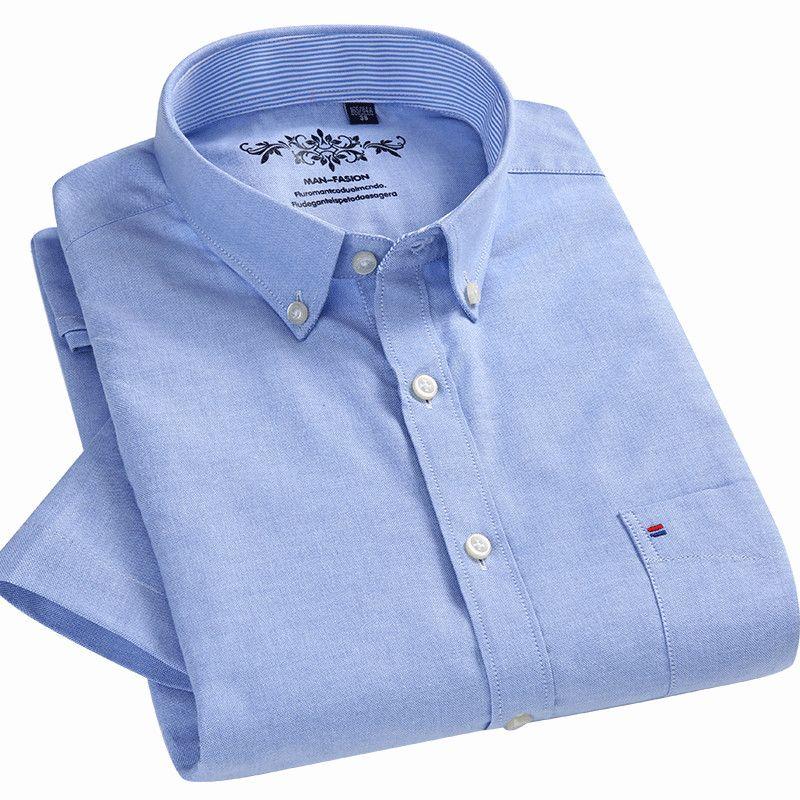 Summer 2018 Short Sleeve Button Collar Oxford Fabric Slim Fit Breath