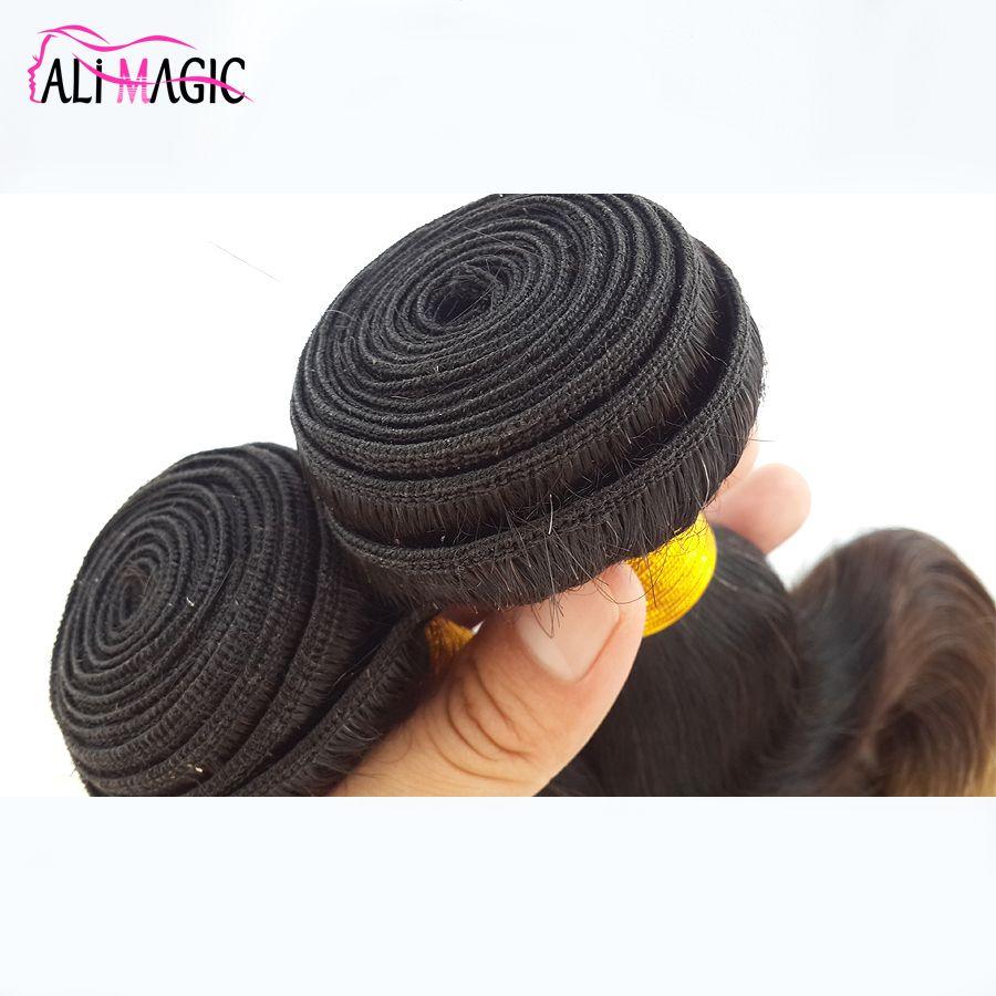 AliMagic Factory Outlet Three Tone Body Wave Ombre Hair Weave 1b/4/27 Blonde Ombre Virgin Human Hair 100g/pcs Brazilian Peruvian