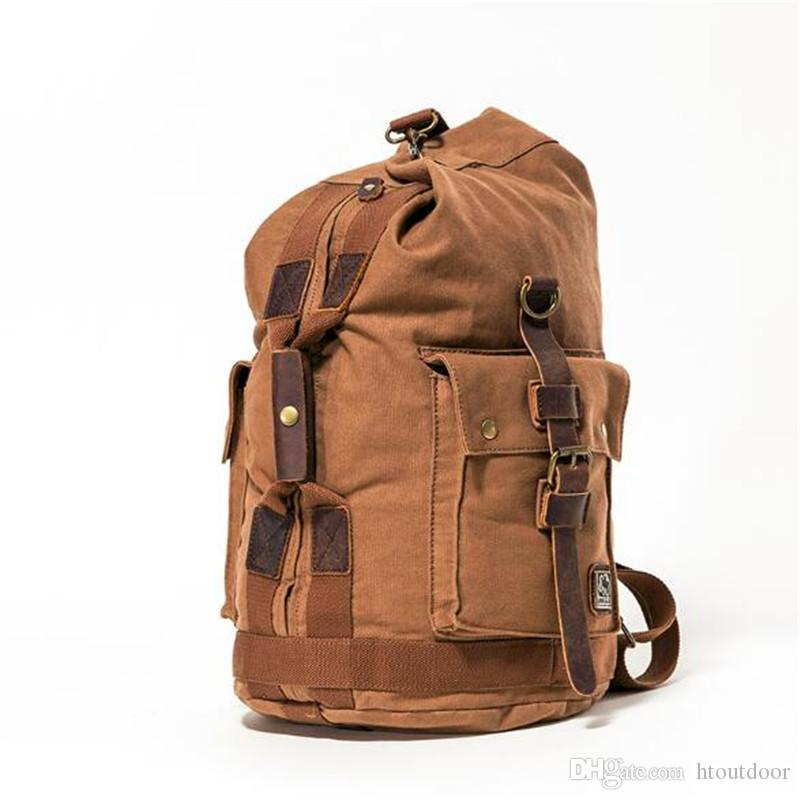 7216a8c6b 2019 Retro Men Canvas Leather Backpack Retro Travel Luggage Bag Handbag  Outdoor Hiking Camping Rucksack Totes Bag Day Pack From Htoutdoor, $36.39 |  DHgate.
