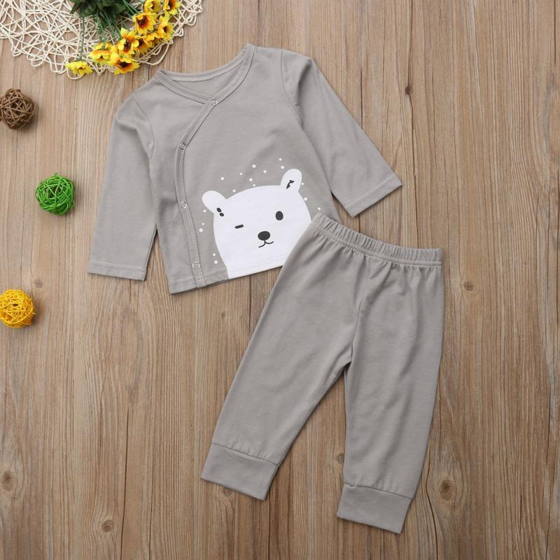 0c666ee55fc2 Newborn Clothes Cartoon Bear Print T-Shirts Tops +Long Pants Baby ...