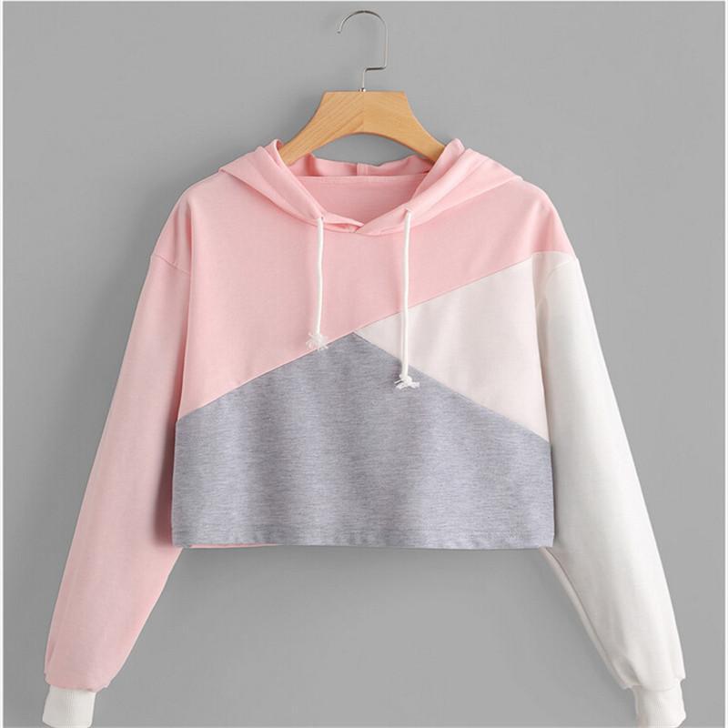 732ef99e5 2019 Harajuku 2017 Sweet Crop Hoodies Women Long Sleeve Winter Warm  Sweatshirts Cute Jumper Pullover Crop Tops Patchwork Sweatshirt From  Mobile02, ...