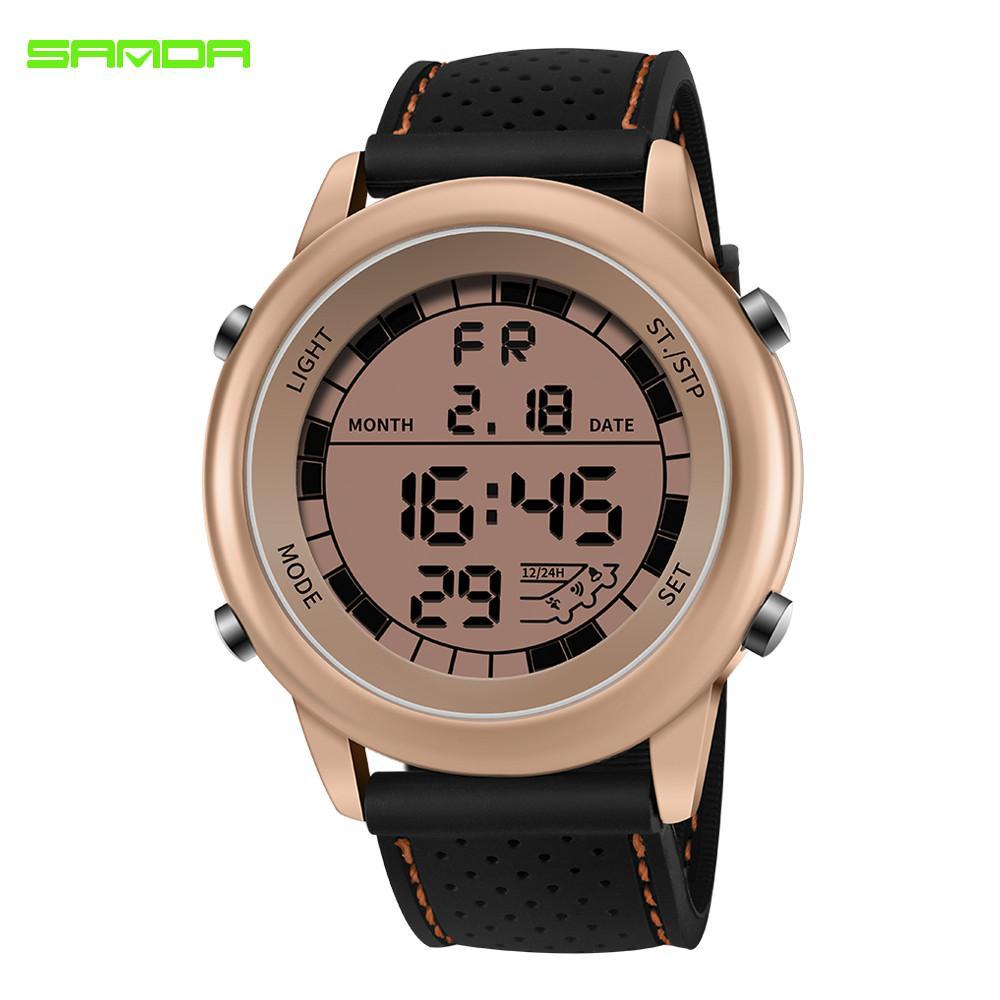 1e7044e7f3c Compre SANDA Luxo LED Digital Pulseiras Mens Grande Mostrador G Estilo  Relógios À Prova D  Água Esporte Relógio Cronômetro Homens Relógio Relojes  Hombre De ...